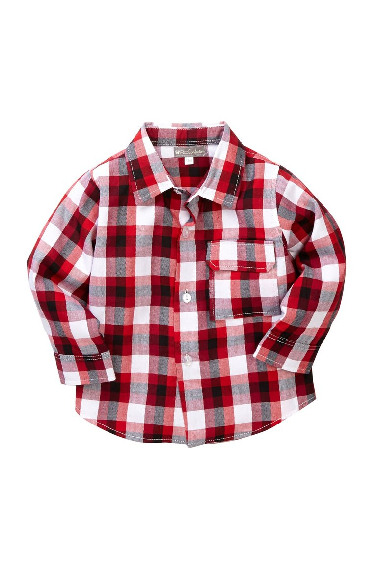Red Plaid Button-Down Shirt - Petit Confection