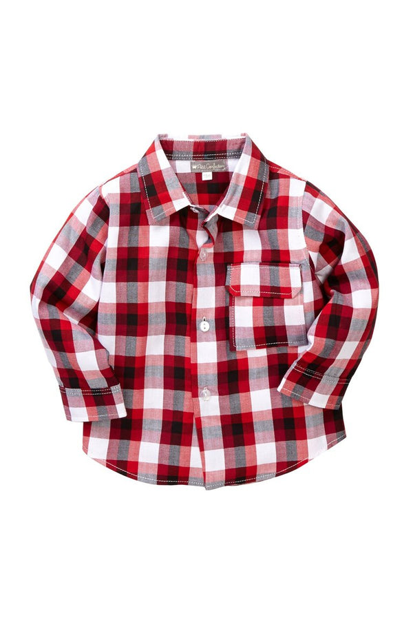 Red Plaid Button-Down Shirt