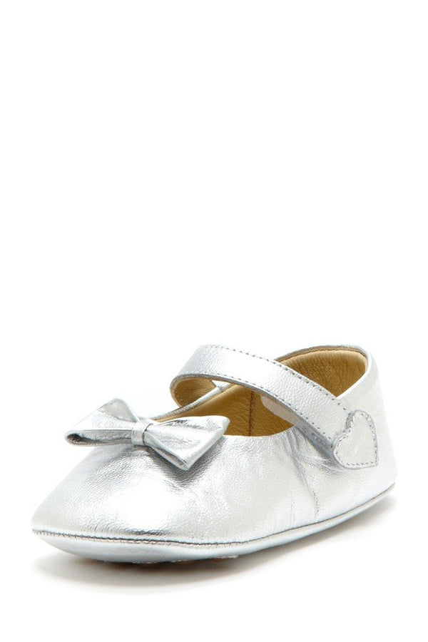 Silver Bow Heart Mary Janes - Petit Confection