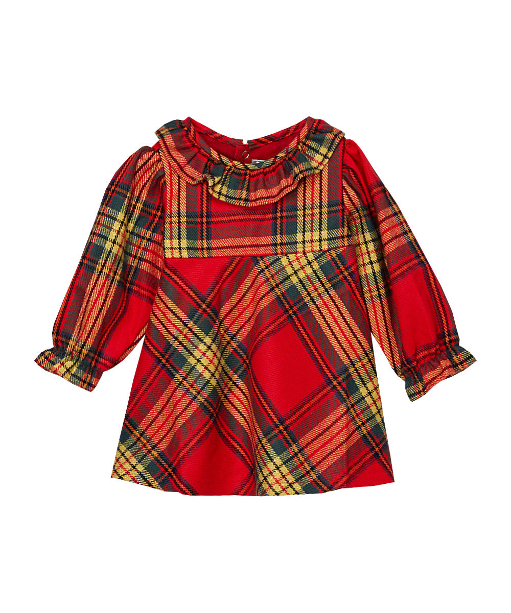 Red Plaid Ruffle Blouse