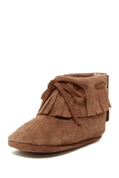 Taupe Suede Fringe Boots - Petit Confection