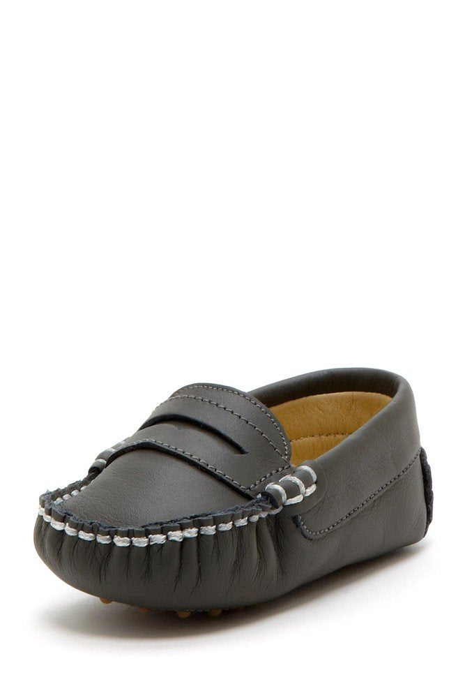 Dark Gray Stitched Pennyloafers - Petit Confection