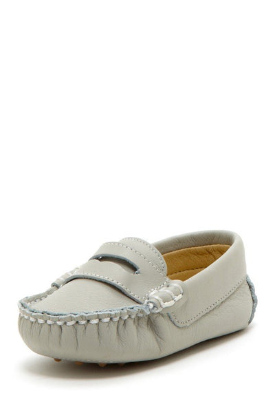 Light Gray Stitched Pennyloafers - Petit Confection