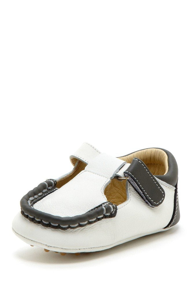 Dark Gray Colorblock T-Strap Loafers - Petit Confection