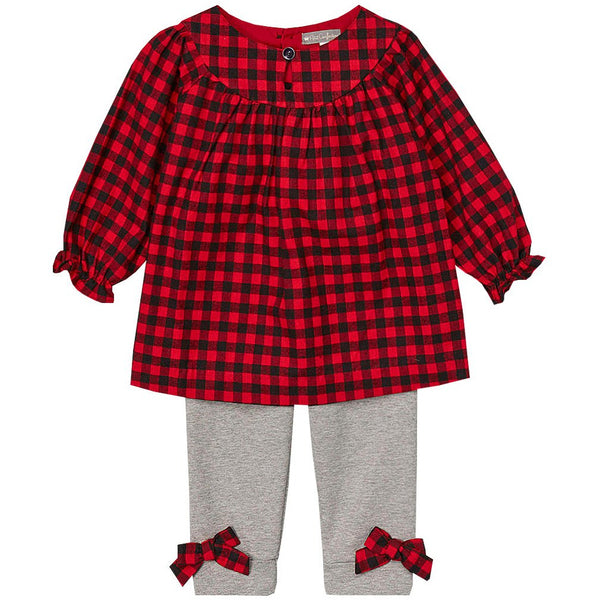 Red Checkered Tunic Set