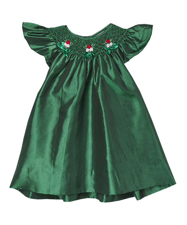 Green Silk Smocked Dress