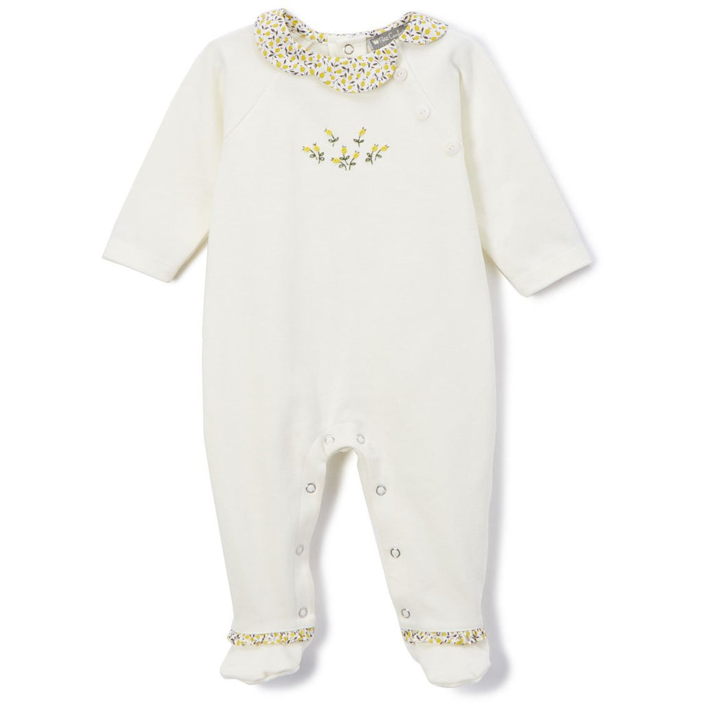 Floral Ruffle Long-Sleeve Onesie - Petit Confection