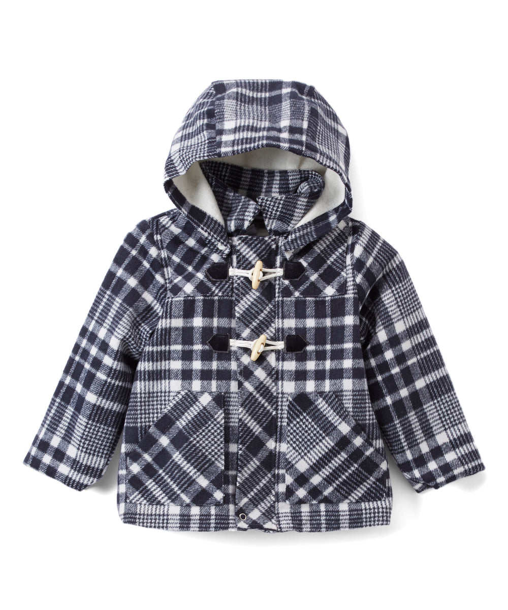 Black Plaid Hooded Coat - Petit Confection