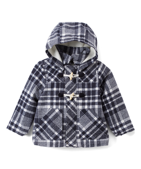 Navy Plaid Hooded Coat