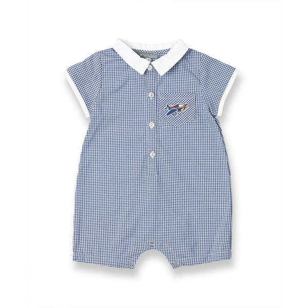 Navy Airplane Gingham Romper