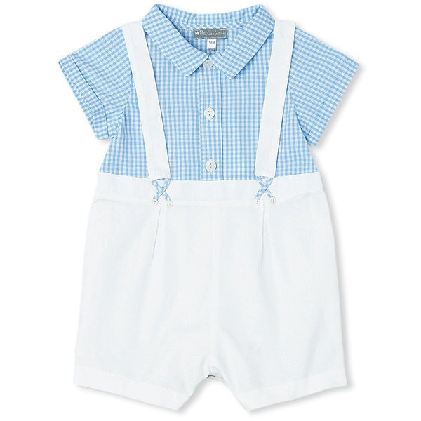 Blue Gingham Suspender Romper