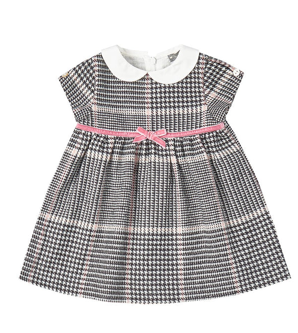 Gray and Pink Houndstooth Dress