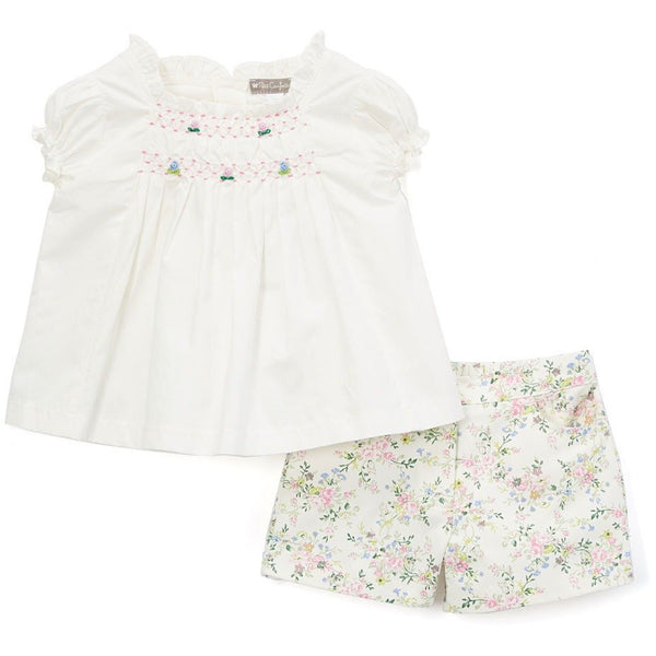 Smocked Tunic + Floral Shorts Set
