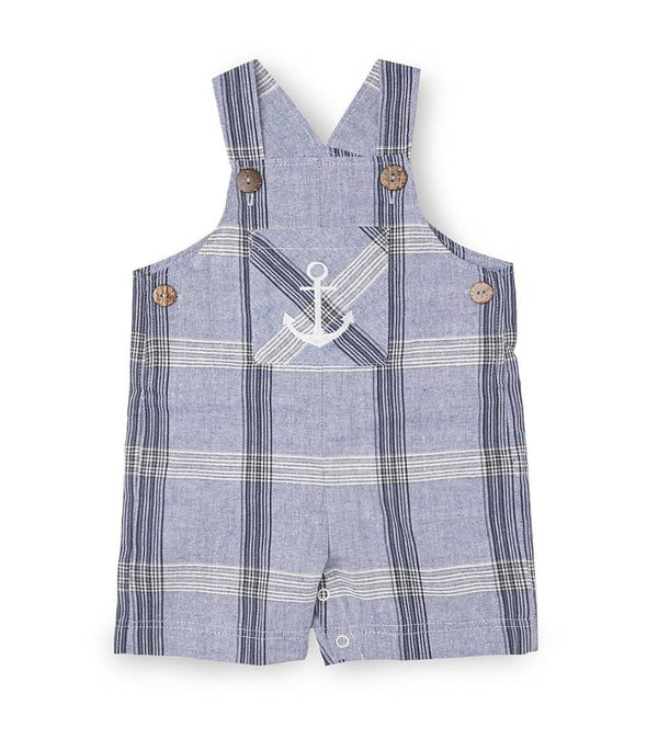 Anchor Plaid Overalls Romper
