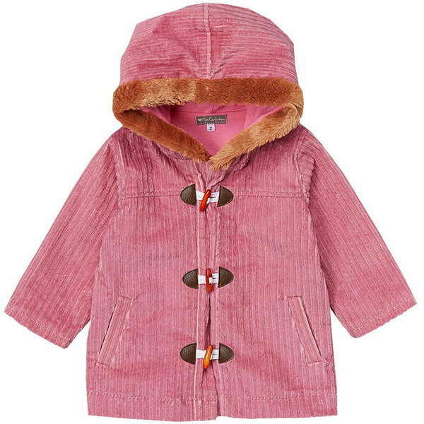 Pink Corduroy Hooded Coat
