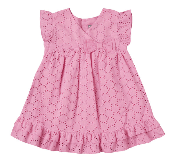 Pink Eyelet Ruffle Dress
