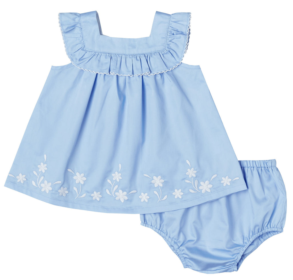 Ruffle Embroidered Dress Set