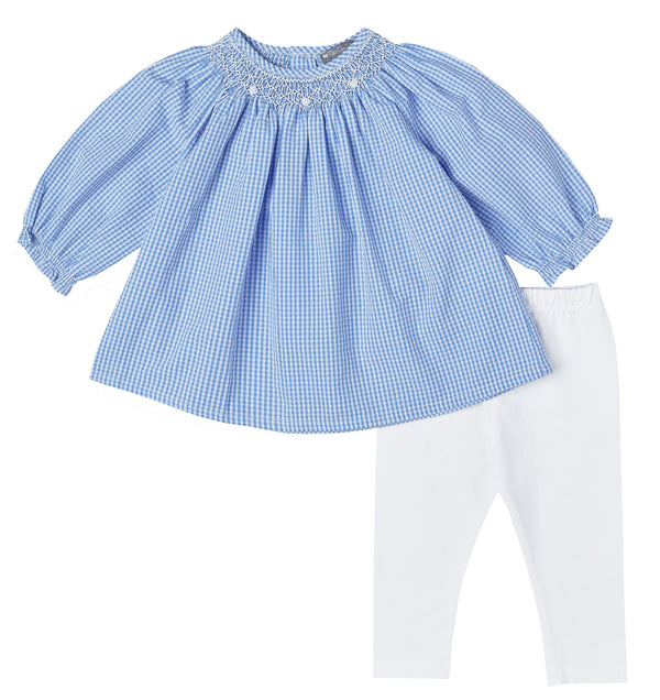 Smocked Gingham Tunic Set