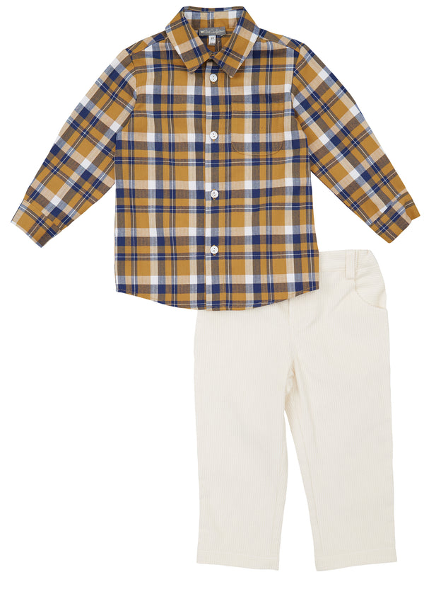 Plaid Shirt + Corduroy Pants Set