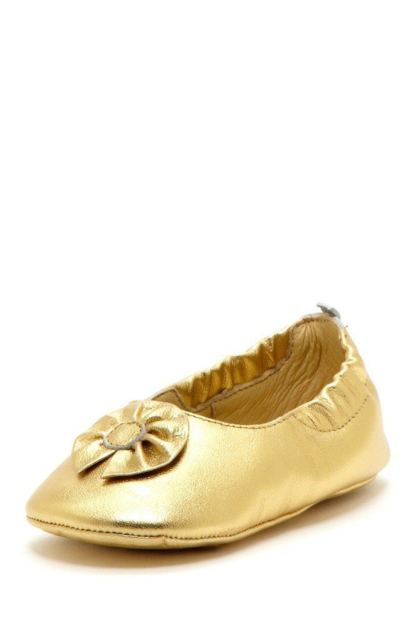 Gold Flower Elastic Flats