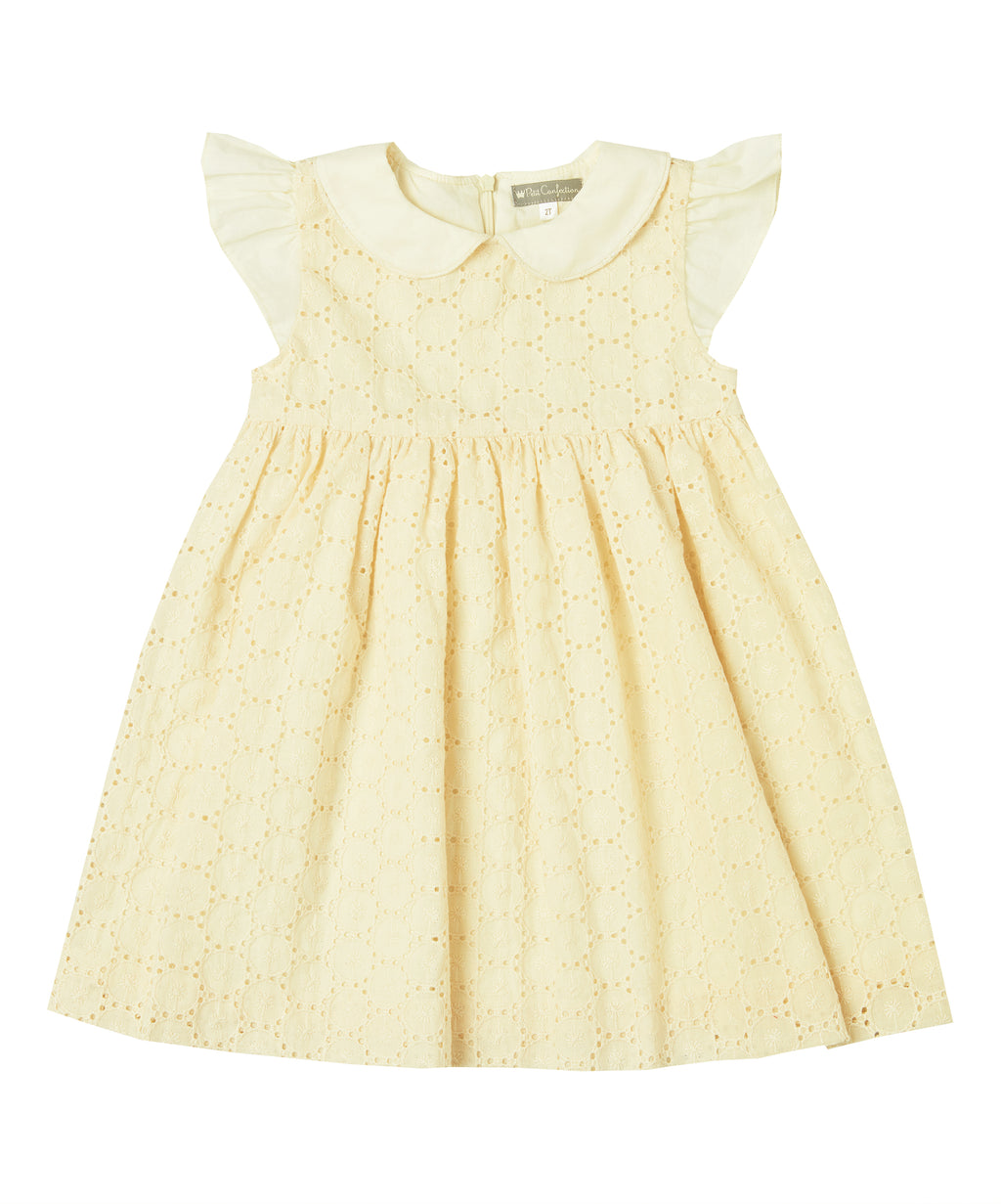 Pale Yellow Eyelet Dress
