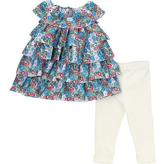 Blue Floral Ruffle Top Set - Petit Confection