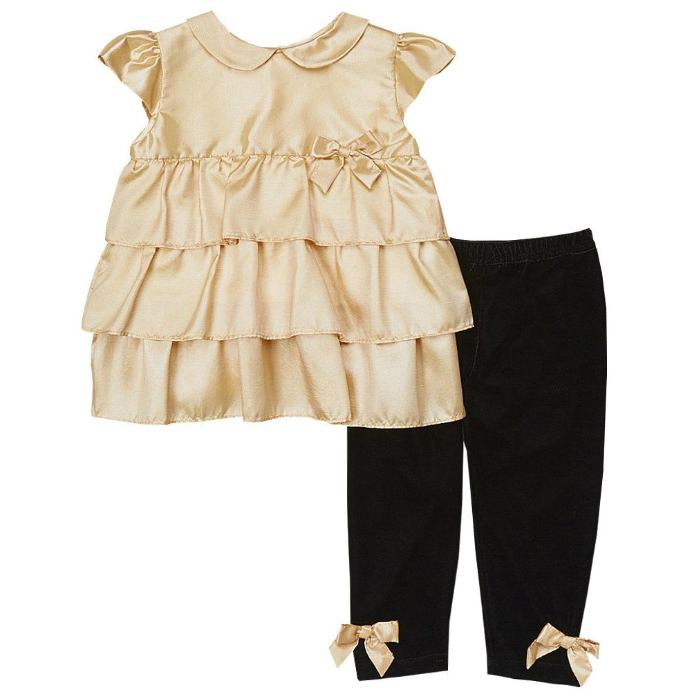 Gold Ruffle Tunic Set