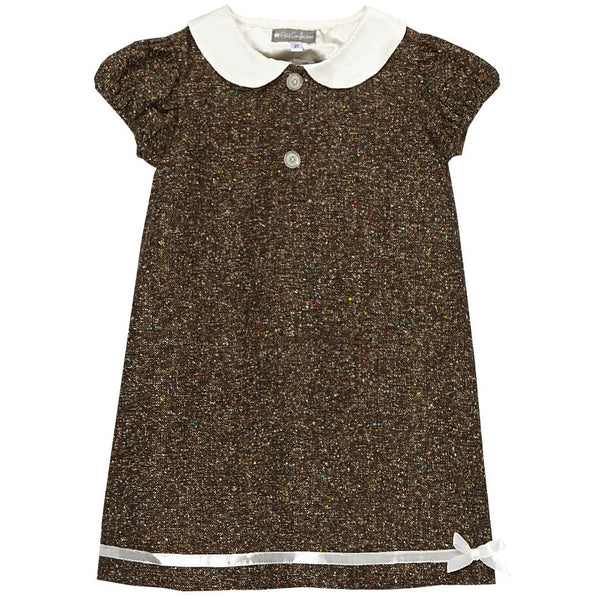 Chocolate Tweed Ribbon Dress