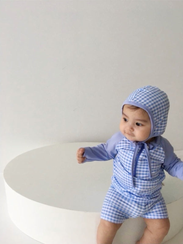 Gingham Swim Rash Guard + Hat Set