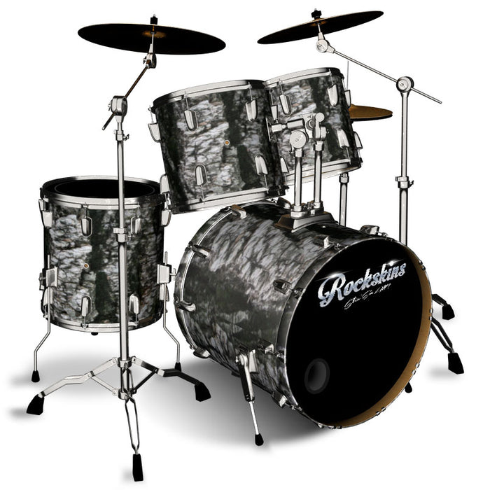Black Channel Bark Drum Wrap