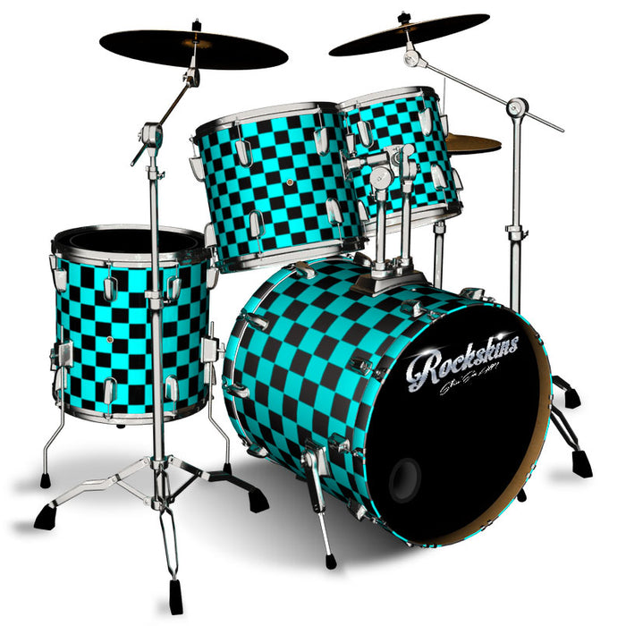 Blue and Black Checker Drum Wrap