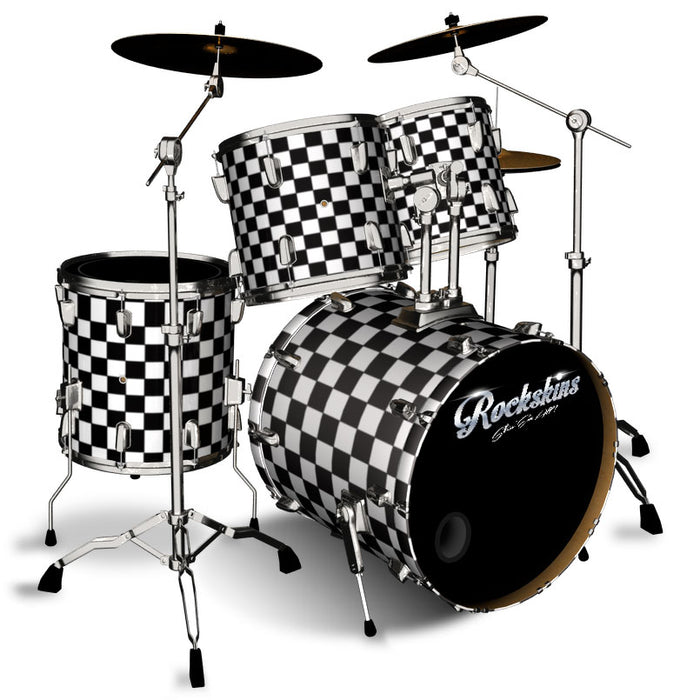 Black and White Checker Drum Wrap