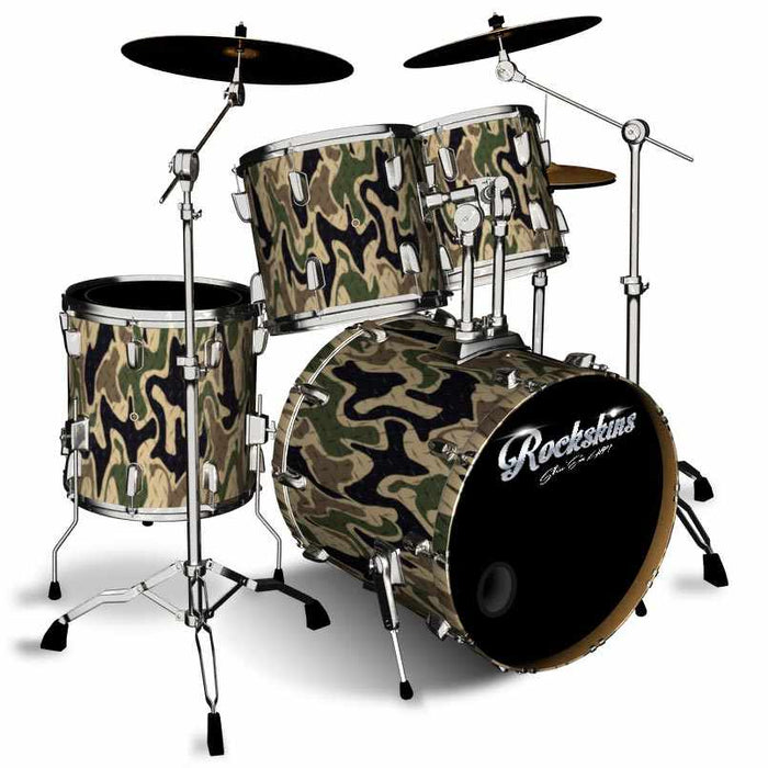 Camo Yellow Diamond Plate Drum Wrap 3