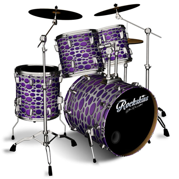 Purple Carbon Fiber Steel Overlay Drum Wrap