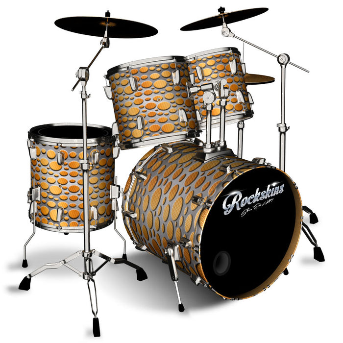 Orange Carbon Fiber and Steel Overlay Drum Wrap