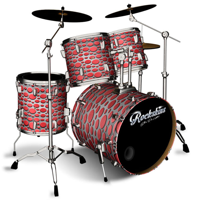 Red Carbon Fiber and Steel Overlay Drum Wrap