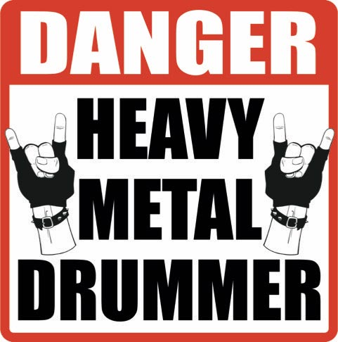 "Danger Heavy Metal Drumming 12"" x 12"" Sign"