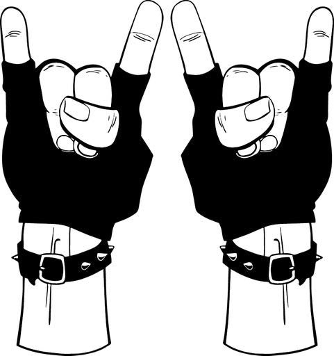 "Rock N Roll Devil Hands 3"" x 6"" Set of 2 Decals"