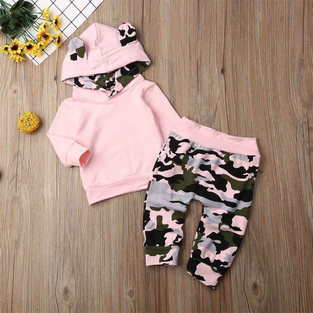 Pink Camo Hooded Set