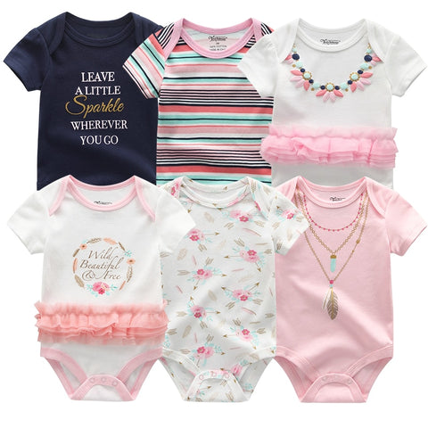 Baby Girl Onesie 6 Pcs Pack - 8 designs