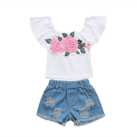 Pink Rose Denim Set