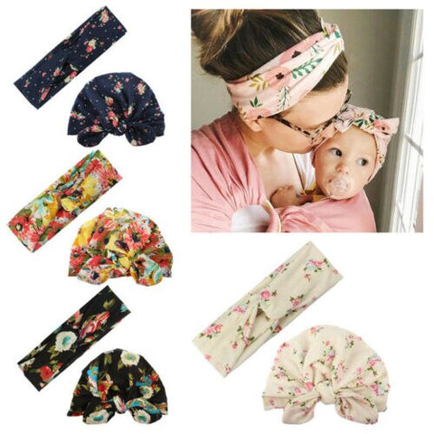 Floral Matching Headband & Baby Hat