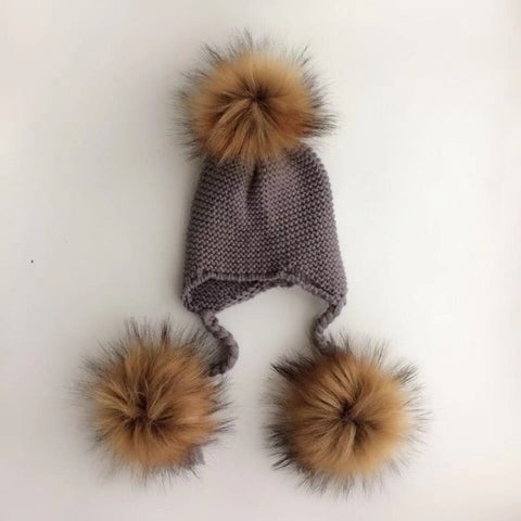 Triple Pompom Knitted Hat - 4 colors
