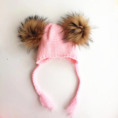 Knitted Pompom Hat - 4 colors
