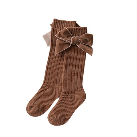 Velvet High Bow Socks