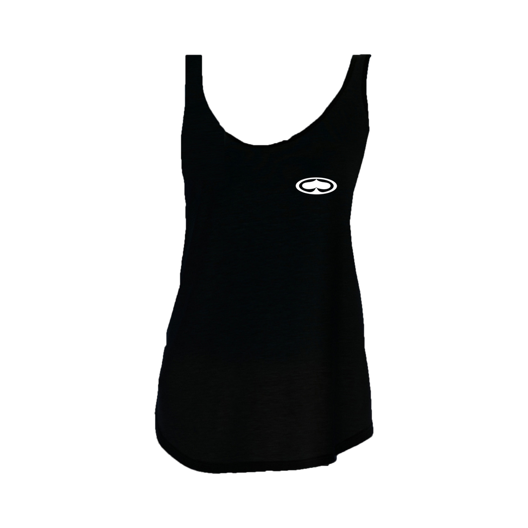 Spaded Flowy Black Womens Tank