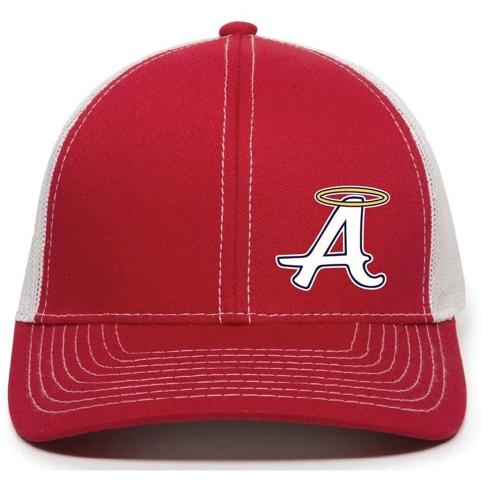 Red with White Mesh Back Cap - Abilene Baseball