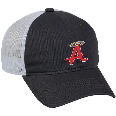 Charcoal with White Mesh Back Unstructured Cap - Abilene Baseball