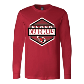 Clack Cardinals - Hexagon Long Sleeve T-Shirt