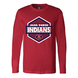 Jim Ned Indians - Hexagon Long Sleeve T-Shirt